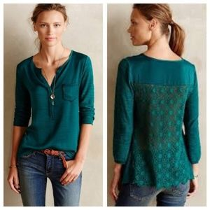 Anthropologie Knitted & Knotted Crochet-Back Top
